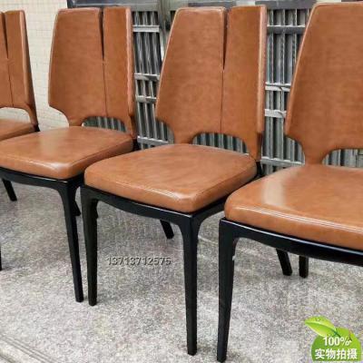 法国品牌家具保罗·马蒂新中式餐椅 实木脚架 异形餐椅洽谈椅 布艺皮革西皮超纤仿真皮