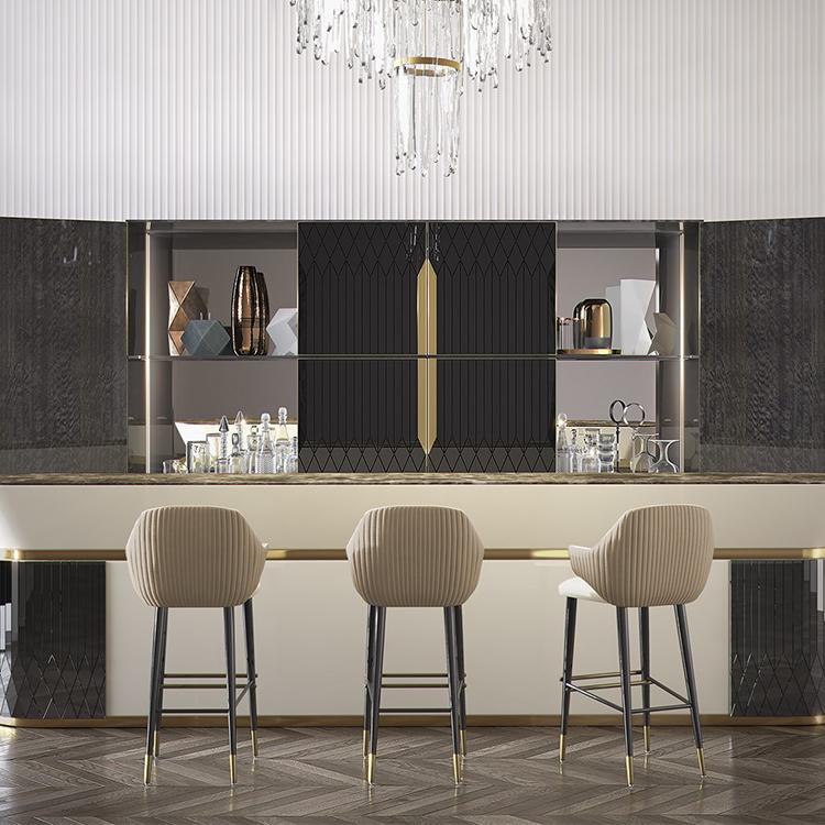 2把起定:2018年新品 意大利 capital collection  DIVA stool沙发凳 吧椅 不锈钢镀金实木脚金属脚布艺软包