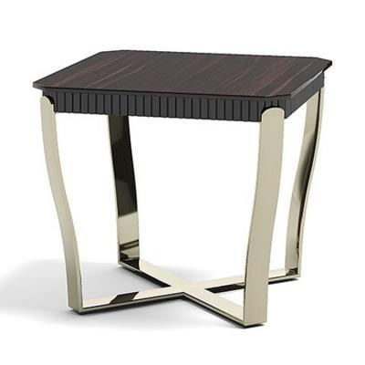 2019年新款 意大利 capital collection ARISTO LQ Tea table 不锈钢枪黑色电镀金属实木异形茶几