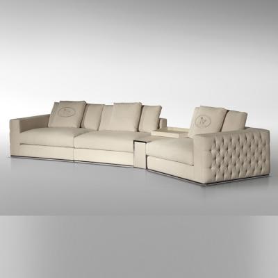 意大利芬迪家具 fendi casa PLAZA SOFA 不锈钢布艺皮革真皮超纤皮 家用商用拉扣沙发