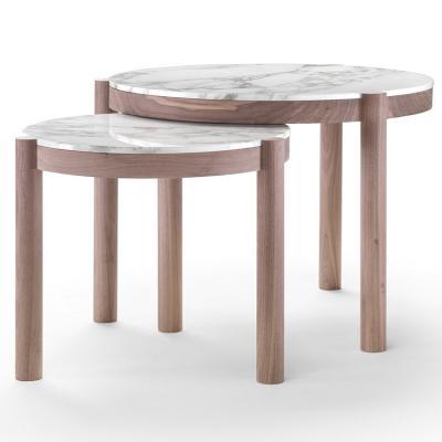 2018年新品 意大利 Flexform 木纹组合茶几实木金属大理石北欧朴素极简朴简 边几