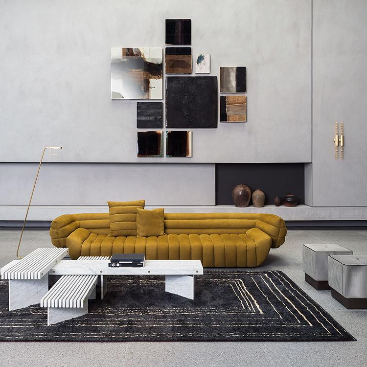 意大利巴克斯特baxter  Tactile Sofa触觉切面切片沙发  布艺皮革真皮单人双人多人沙发