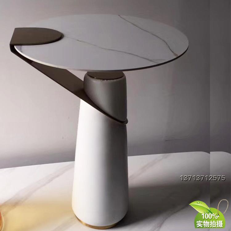意大利图里日蚀茶几 年轻设计师玻璃大理石不锈钢软包茶色爵士白