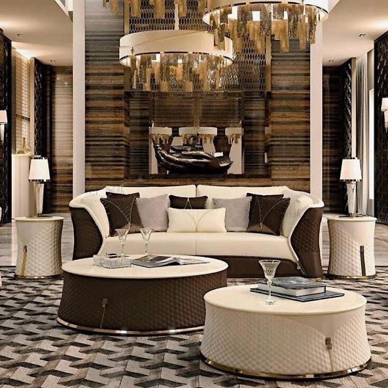 意大利Turri sofa  by Andrea Bonini 单人双人多人沙发茶几边几轻奢全软包大理石不锈钢茶几边几