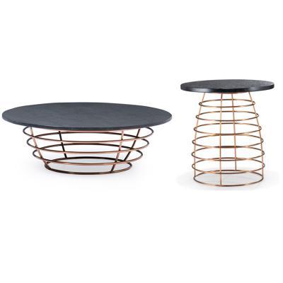 意式轻奢设计师定制家具圆形金属 不锈钢圆圈 大理石实木 工业风现代简约 边几茶几角几