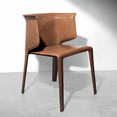 马鞍皮意大利设计 餐椅 酒店洽谈椅 硬皮厚皮 耐磨尼龙线 全软包