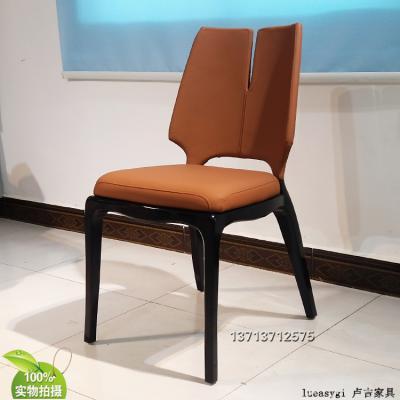 保罗·马蒂新中式餐椅 实木脚架 异形餐椅洽谈椅 布艺皮革西皮超纤仿真皮