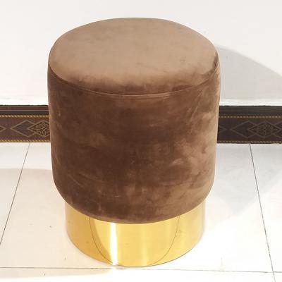 艺术贵而不奢米兰建筑师设计 个性换鞋凳 简约金色 布艺沙发边儿童凳