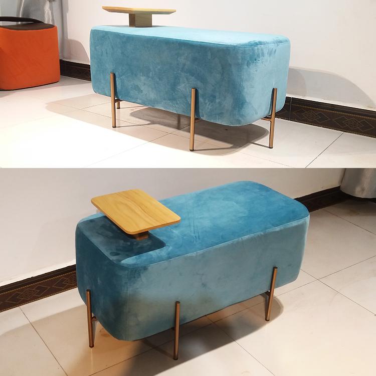 带茶几位多功能 换鞋凳矮凳豆腐块布艺绒布大象椅北欧沙发大象椅长凳墩榻脚踏