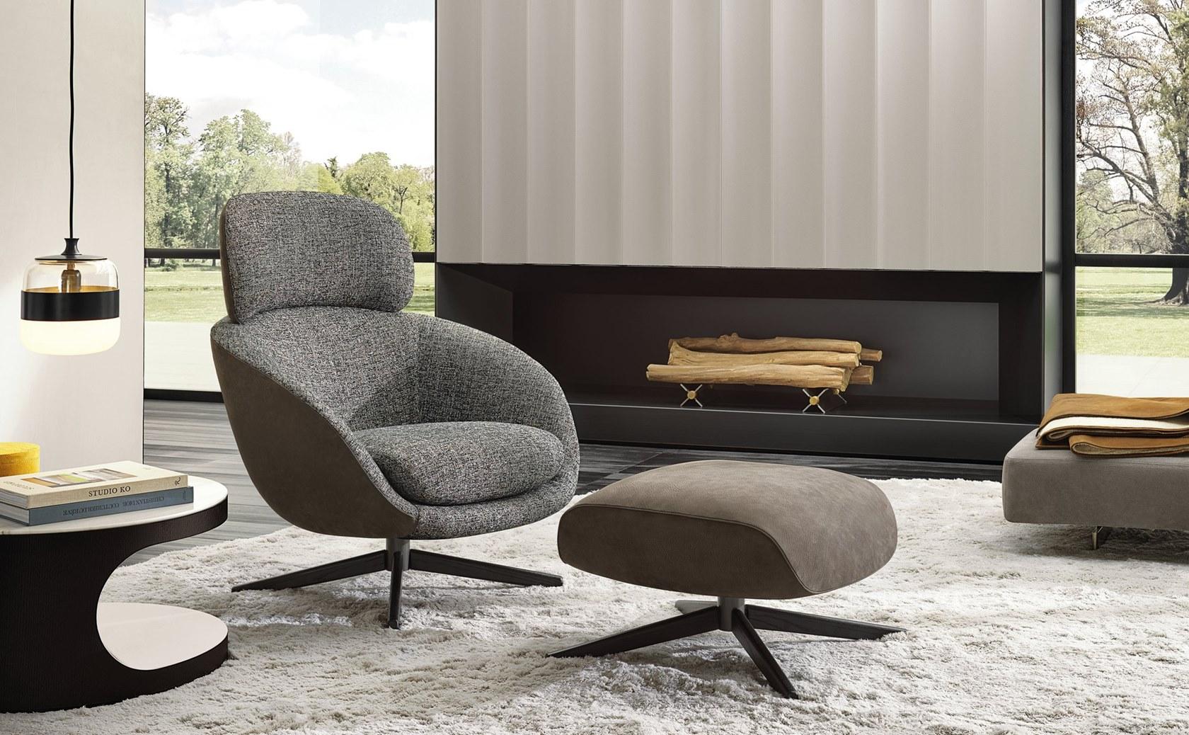 现货 意大利大牌 Minotti休闲椅 罗素沙发椅 玻璃钢海棉面料五金脚接待椅洽谈椅