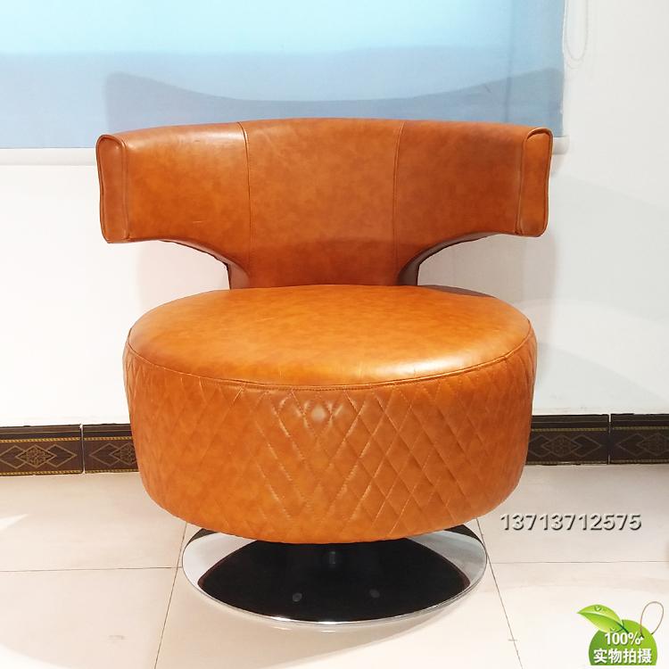 意大利英国B兵利 酒店休闲旋转椅格子压线皮革真皮布艺 定制家具