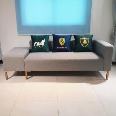 细麻布艺 茶几沙发组合 不锈钢脚木脚可选 酒店家用商用双人沙发