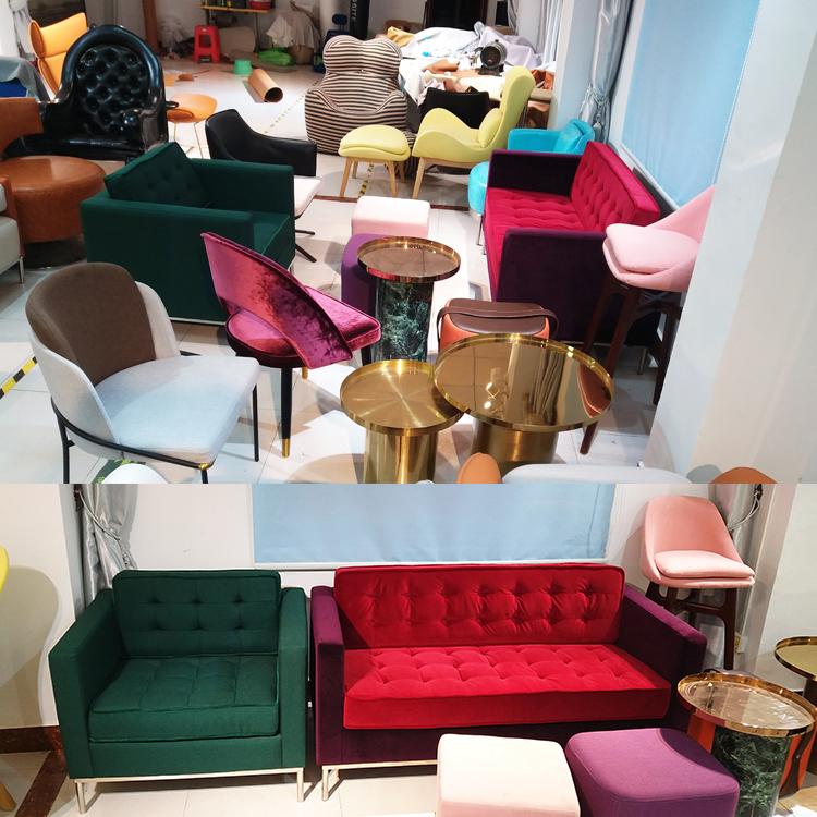 现货绒布 设计师轻奢极简现代餐椅 客厅酒店餐厅家用金色脚样版房