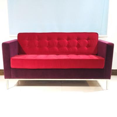 现货304不锈钢意式极简定制 双人沙发麻布绒布电镀拉扣佛罗伦萨诺