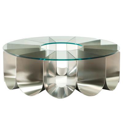 IRIDE 不锈钢电镀分格圆形弧 香槟金色 钢化玻璃 大理石 实木餐桌 茶几圆桌 室内外家具