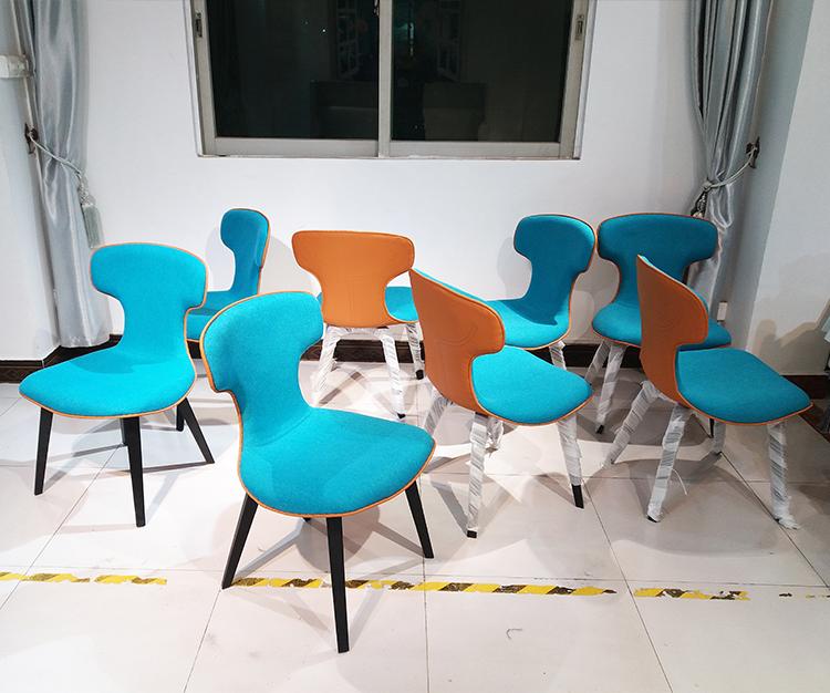 罗伯托设计师蒙特拉椅时尚前沿 皮质创意书椅电脑椅 布艺双色餐椅Roberto Lazzeroni