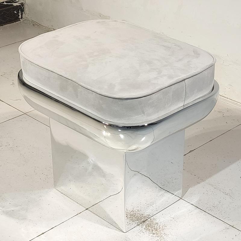 轻奢极简意式玻璃钢电镀椅子 设计师 客厅矮凳床边凳茶几凳子双用