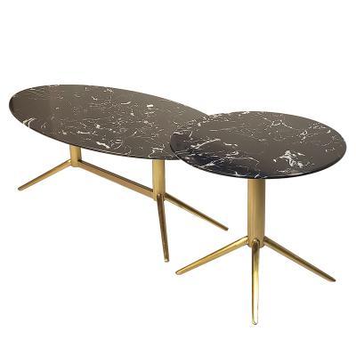 意大利设计师茶几组合 不锈钢金铜色异形大理石圆形椭圆 轻奢酒店